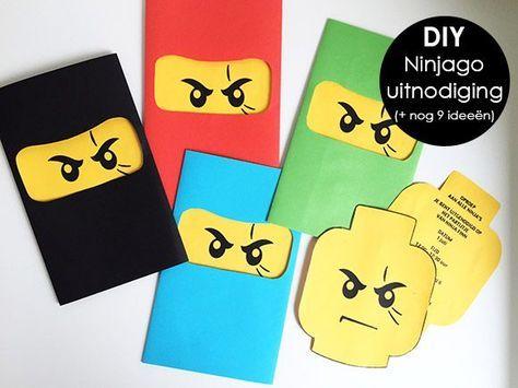 verjaardag, jarig, partijtje, uitnodiging, thema, ninja, ninjago, lego, kind, peuter, kleuter, jongen, meisje, zelf, maken, idee, tips, diy,…