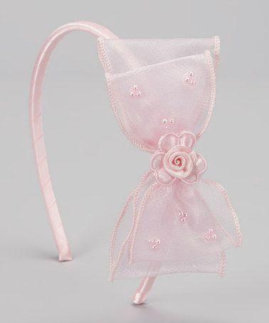 Look at this #zulilyfind! Pink Bow & Blossom Headband #zulilyfinds