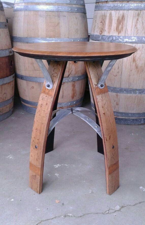 A nice table made from a wine barrel.