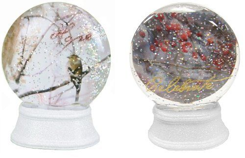"""Pack of 6 Tammy Repp Lighted Color Changing Nature Snow Globe Glitterdomes by Roman. Save 9 Off!. $60.00. From the Inspirational Gifts CollectionBy artist Tammy ReppItem #36895Globes feature the word """"Hope"""" in red glitter or the word """"Celebrate"""" in gold glitter The globes light up and the light changes color from red to green to blue to yellow to purpleConvenient on/off switch on the bottom of the baseRequires 3 button cell batteries - includedDimensions: 3.75""""H x 2""""W x 2""""DMat..."""