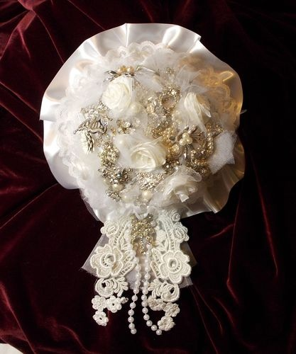 Handcrafted Bridal Bouquet Vintage Costume Jewelry Brooches Rheinstone Pearls | eBay