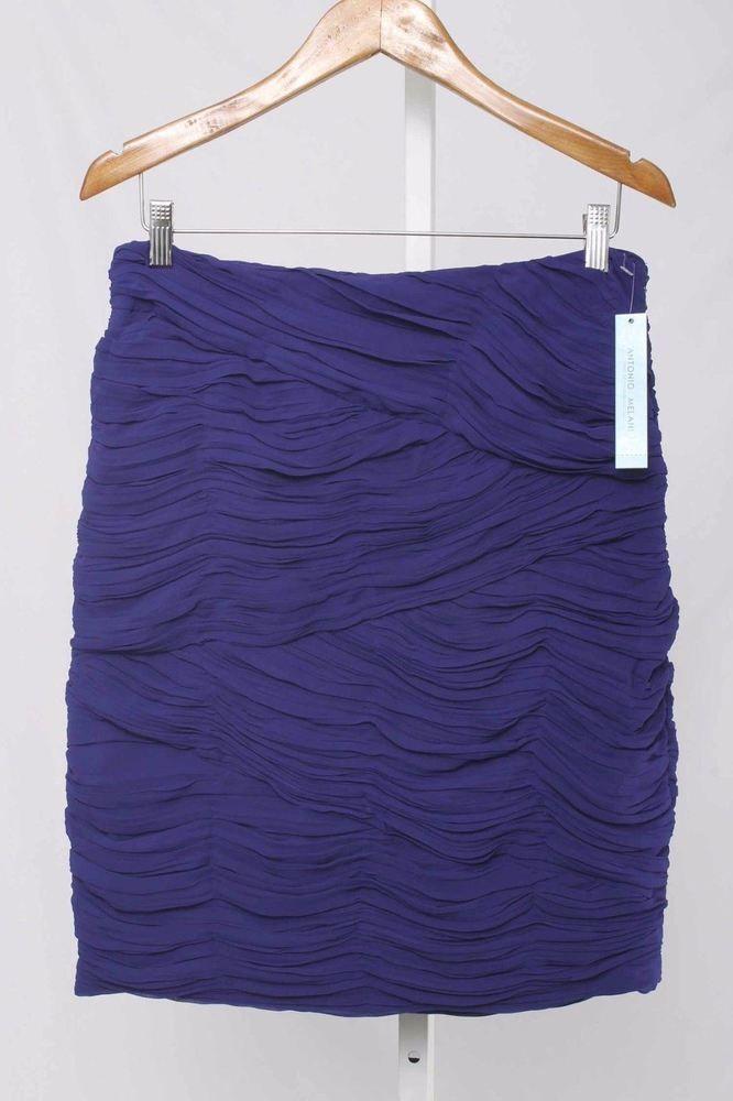 Antonio Melani Size 8 Blue Ruched Bodycon Skirt NWT 611 ST1016  | eBay