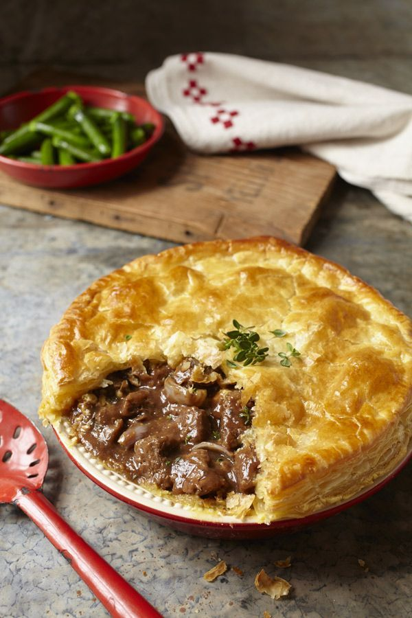 Steak, dark ale and stilton pie. Come to this pie with an appetite! This flakey crust and rich filling are satisfying!