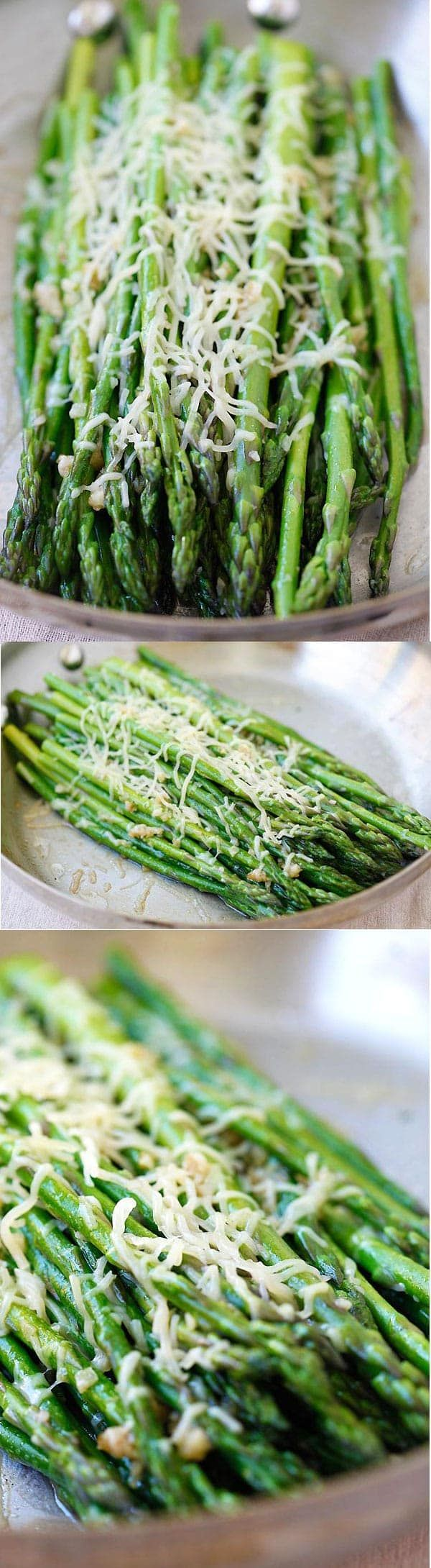 Parmesan Asparagus - easy sauteed asparagus with Parmesan cheese on a skillet. This recipe takes 10 minutes, so healthy and delicious | rasamalaysia.com