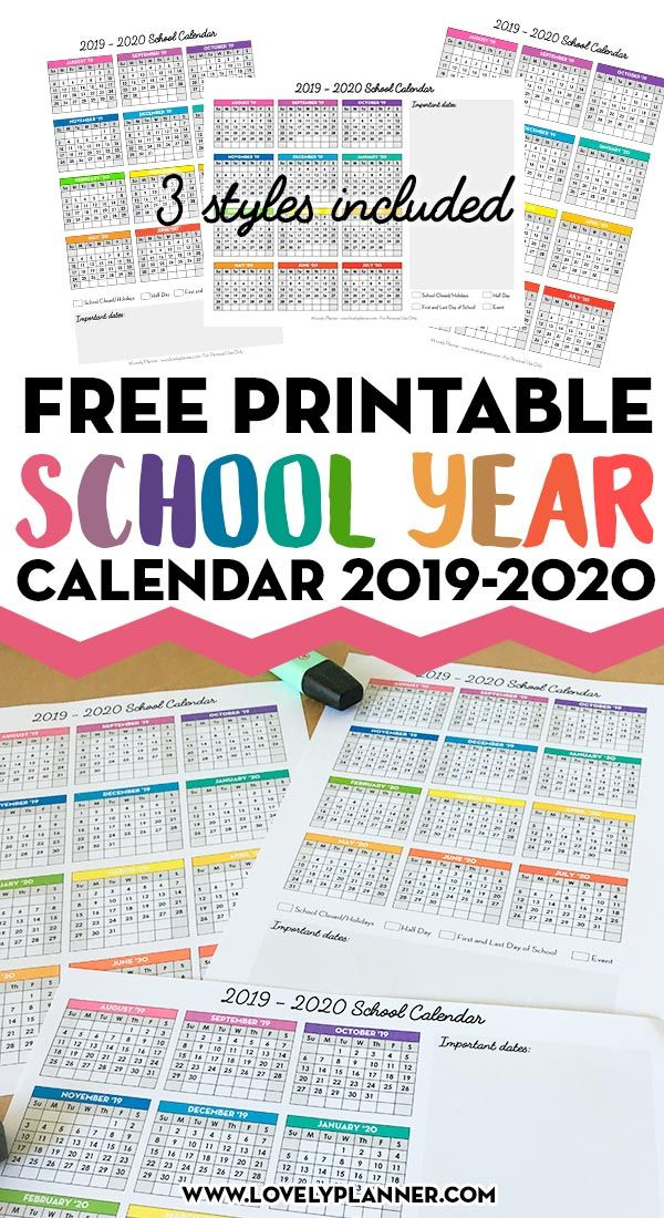 One Page School Calendar Free Printable For School Year 2019