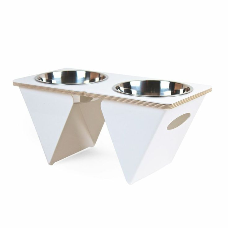 Boxer Tall Pet Bowl in White.