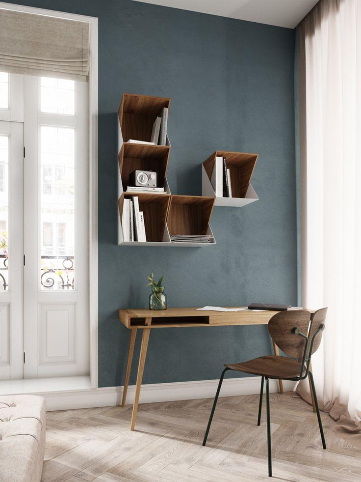 Poet Table by Nordic Tales Flip Shelfs by Nordic Tales Moth Chair by Nordic Tales
