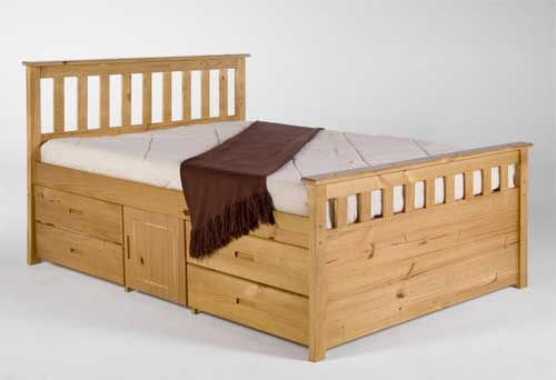 Bedroom Soft Brown Wooden Double Bed With Storage Square And Four Square Doors White Mattress Brown Shawl White Background Make Your Room Look Organized With Double Bed With Storage