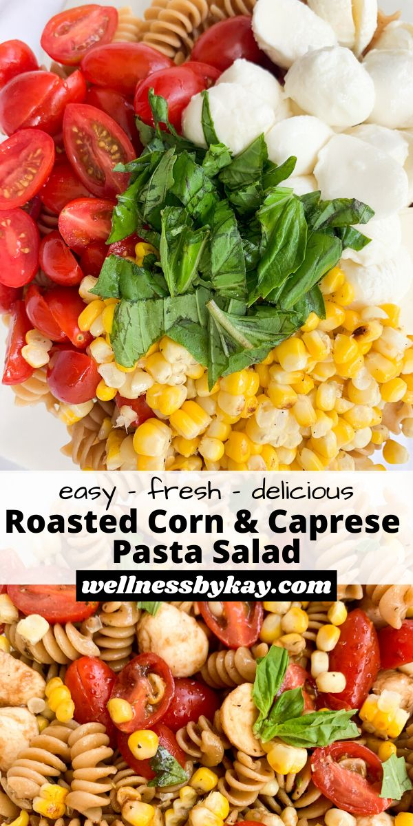 This Roasted Corn & Caprese Pasta Salad is a colorful, fresh, and delicious dish! It would be perfect as a summer side…
