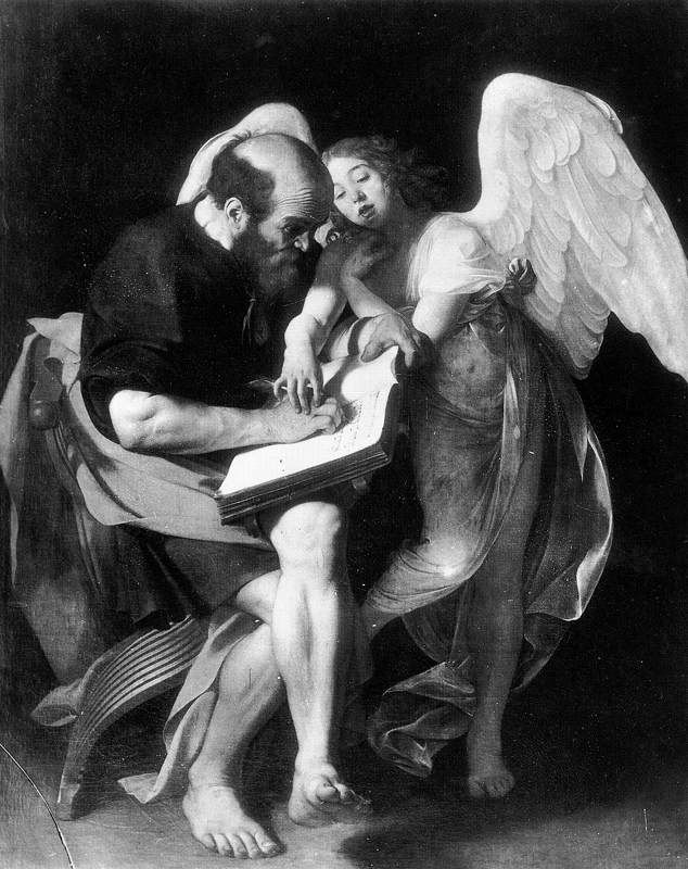 Saint Matthew and the Angel - Caravaggio, 1602 (destroyed in 1945)