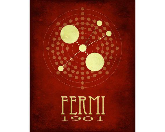 Scientist Poster, Enrico Fermi 12x18 Science Art, Geek Decor Fine Art Print, Mad Scientist Room, Science Gift Wall Art, Rock Star Scientist