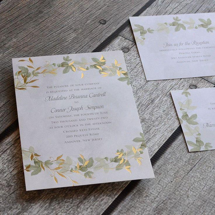 summer fete wedding invitations%0A Woodland wedding invitation  Ivy wedding invitation