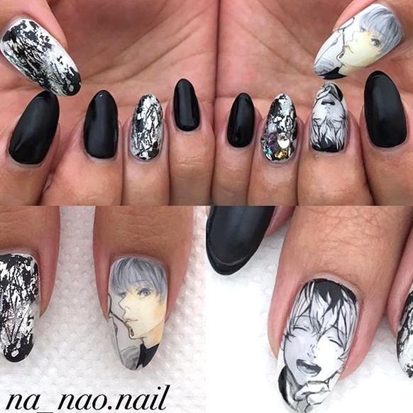 Pin By Hexa On Anime In 2020 Anime Nails Black Nail Designs Korean Nail Art