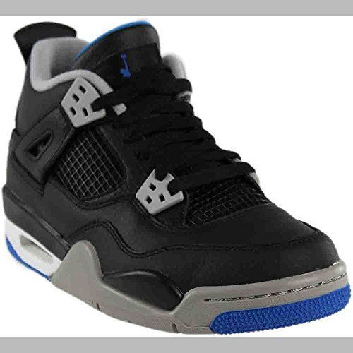 Jordan Nike Kids Air 4 Retro BG Black/Soar Matte Silver White Basketball  Shoe 6