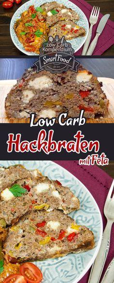 Low Carb Hackbraten mit Feta und buntem Paprikagemüse frisch aus dem Ofen. Bunt und lecker gespickt - so einfach und köstlich geht Low Carb Kochen.