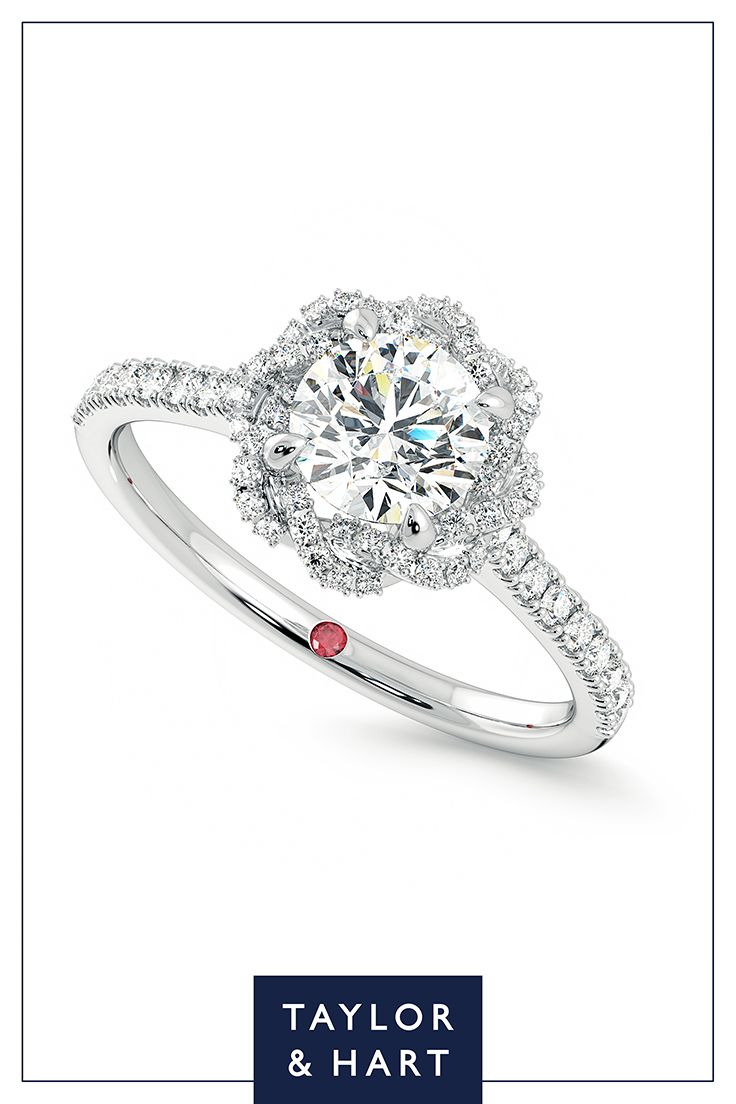 Be bold and daring with this statement  diamond pave engagement ring.The Entwine combines a round diamond centre pave diamond halo set in 18ct white gold. Get in touch and let's craft your dream ring! #engagement #engagementring #Pave #diamond #whitegold