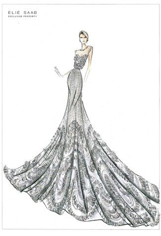 An Elie Saab sketch | Couture Isn't So Dead, After All, According to Givenchy, Dior, Armani, and Chanel Execs | POPSUGAR Fashion