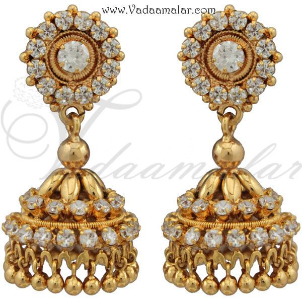 2926629fe White stones jhumka earrings | JHUMKAS in 2019 | Earrings, Indian ...
