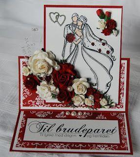 Rødt og hvitt bryllupskort