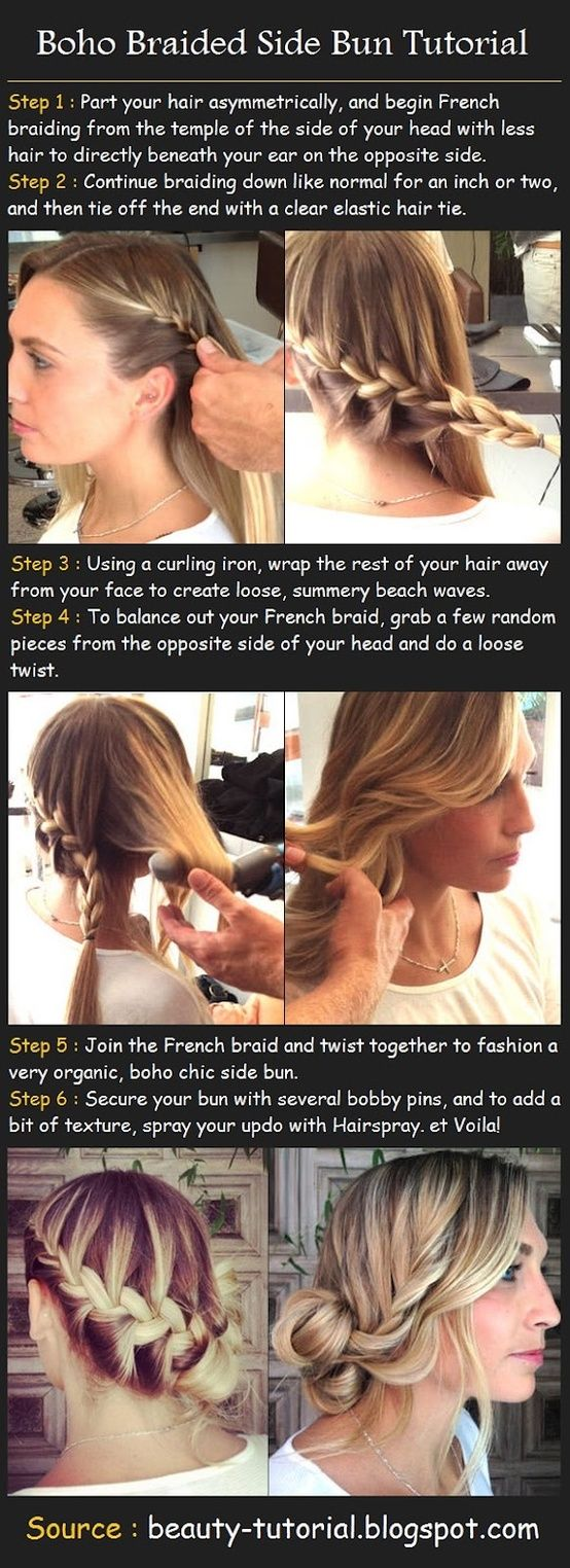 Boho Braided Side Bun - Click image to find more Hair & Beauty Pinterest pins