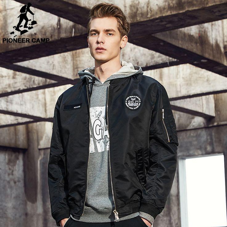 Pioneer camp nueva primavera capa de la chaqueta de los hombres marca clothing moda masculina chaqueta de bombardero de alta calidad outwear negro ejército verde ajk707001 en Chaquetas de Ropa y Accesorios en AliExpress.com   Alibaba Group