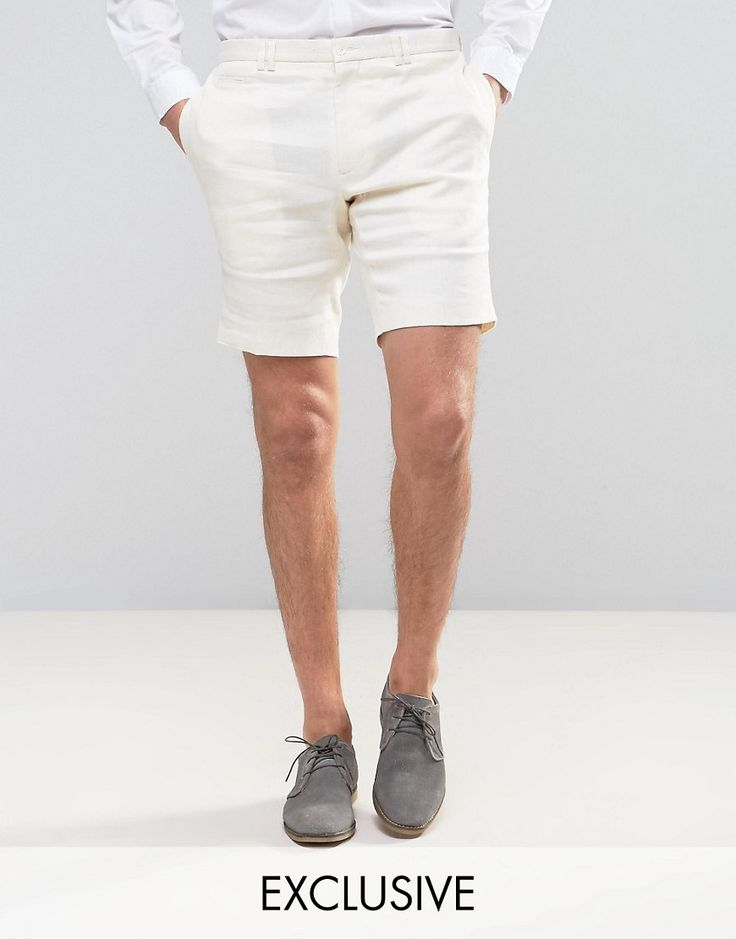 Noak Skinny Shorts In Linen - White