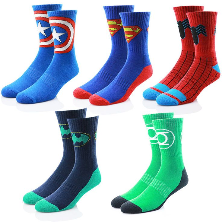 Marvel DC Comics Socks SuperHero BATMAN SUPERMAN SPIDERMAN Mens Socks SK09