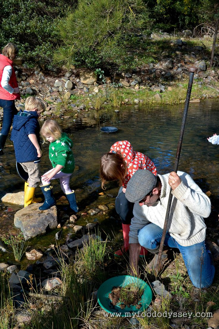 Panning for gold at Chesleigh Homestead in Sofala, Australia.