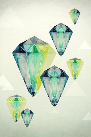 diamond: Crystals, Watercolor, Artists, Eibatova Karina, Art Inspiration, Illustrations, Karina Eibatova, Graphics Design Diamonds, Drawing