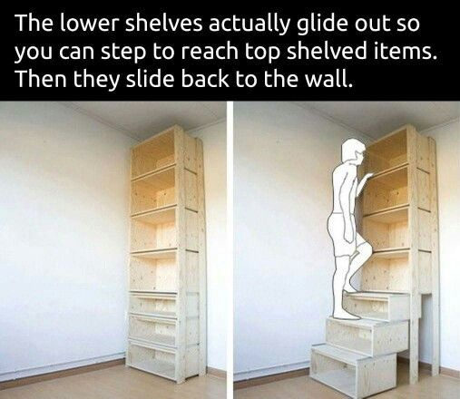 Pull out  shelves would be awesome to save space and the kids can reach them as well