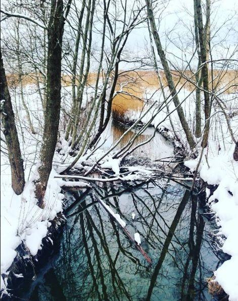 Mustjõe (Black river) in wintertime.
