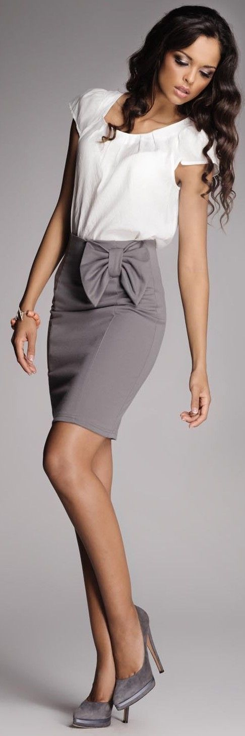 grey skirt. white top. soft curls. feminine and professional. Add a necklace