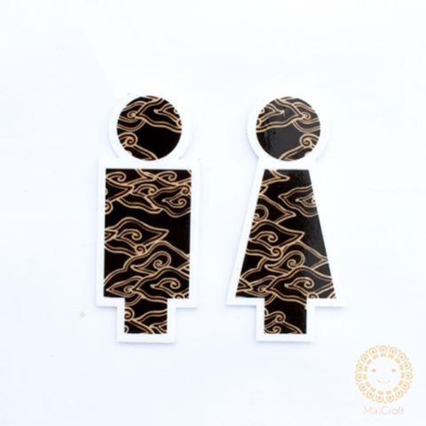 Toilet Signage, laser cut acrylic _batik megamendung