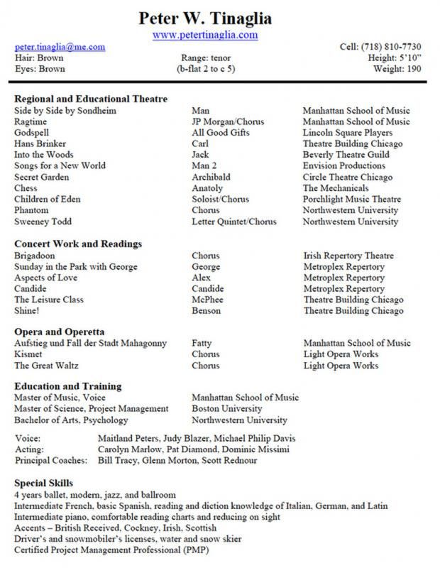 Musical Theatre Resume Template | template in 2019 | Musical theatre ...
