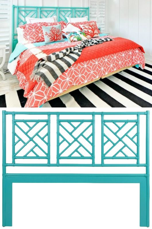 Turquoise headboard... http://www.completely-coastal.com/2017/03/beds-headboards-for-coastal-decorating.html Bright turquoise headboard paired with coral bedding and striped black and white rug.