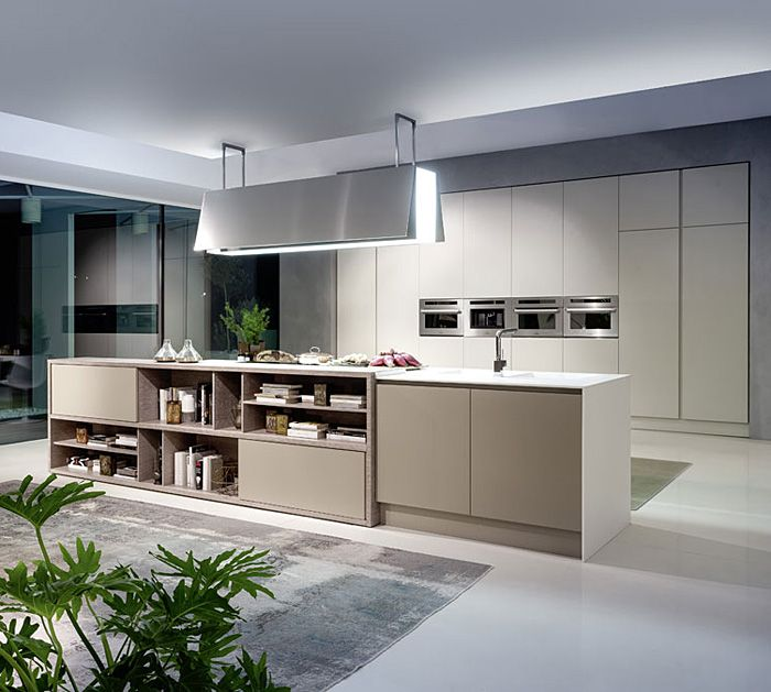 Contemporary Kitchen With Shelves Toward Family To Integrate Space