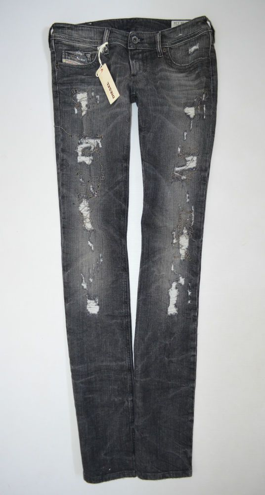 NEW Ladies DIESEL LOWKY 08U3 chain Black Straight JEANS woman size W28 L34 uk 10