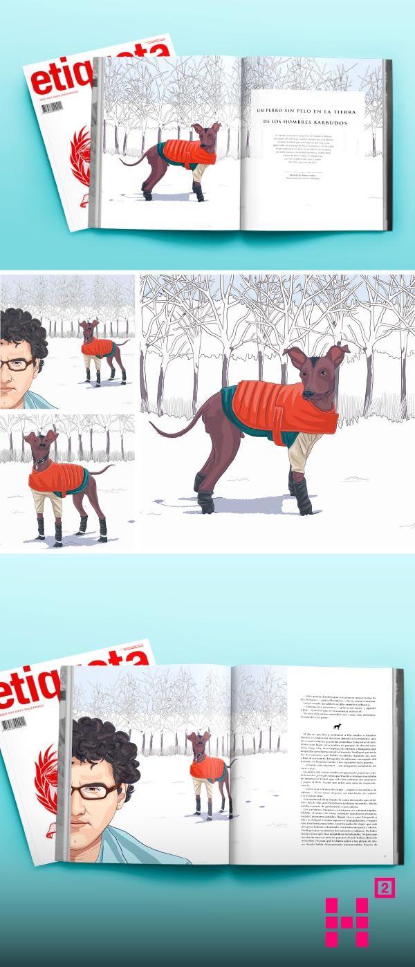 #Ilustraciones para un texto del escritor #MarcoAvilés, que cuenta la historia de un hombre y un #perro peruano. Publicación hecha en la #revista Etiqueta Negra.