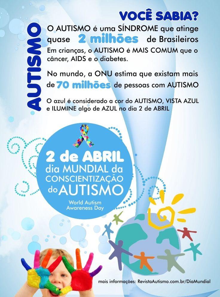 """02/04 ♥ """"Dia Mundial de Conscientização do AUTISMO"""" ♥ ♥ """"Journée Mondiale de Sensibilisation à l'AUTISME"""" ♥  http://paulabarrozo.blogspot.com.br/2012/04/0204-dia-mundial-de-conscientizacao-do.html"""