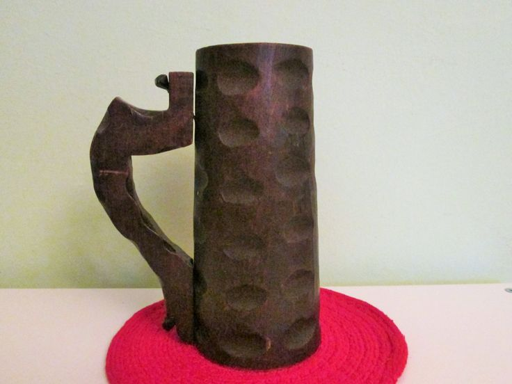Vintage Large Primitive Wooden Beer Stein, Dark Wood Hand Carved Beer Mug, Rustic Farmhouse Decor by Grandchildattic on Etsy