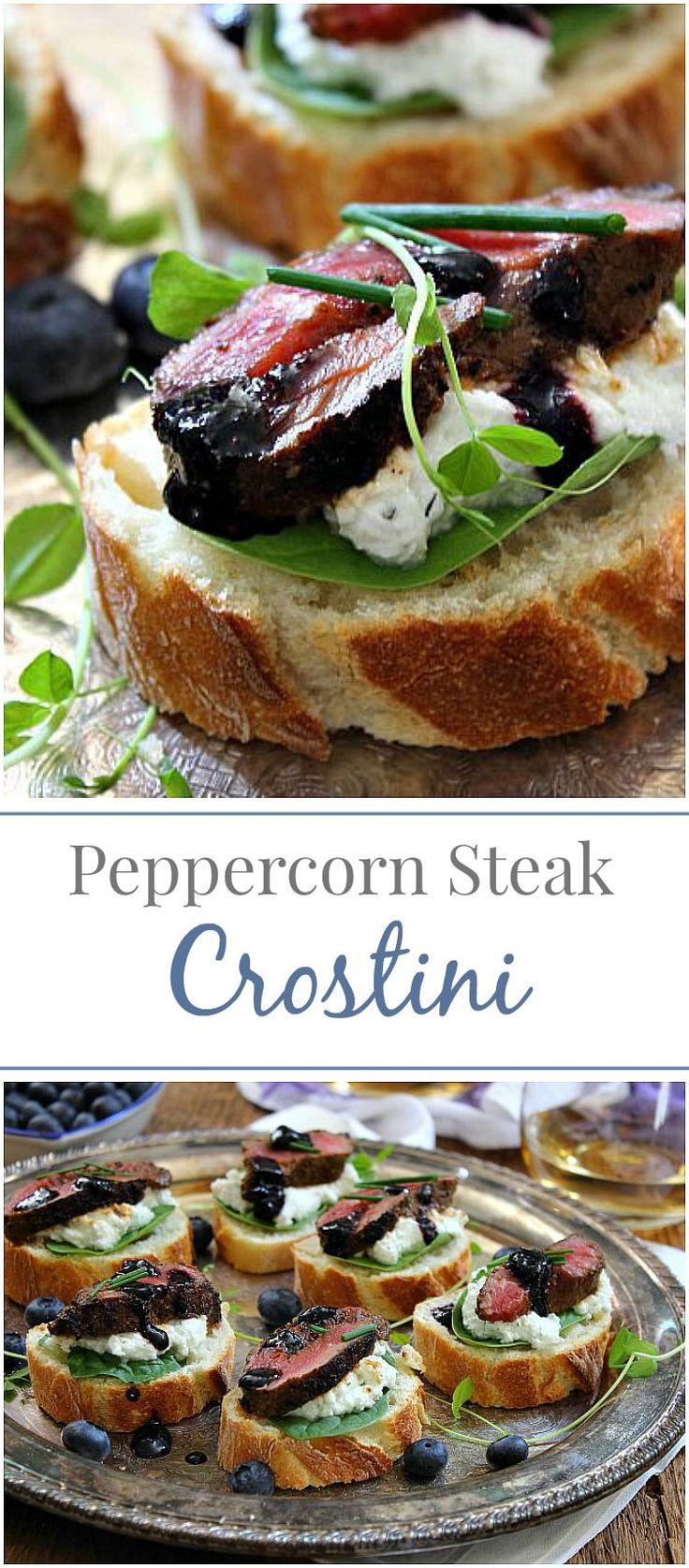 Peppercorn Steak Crostini with Blueberry Balsamic Glaze | Simply Fresh Dinners