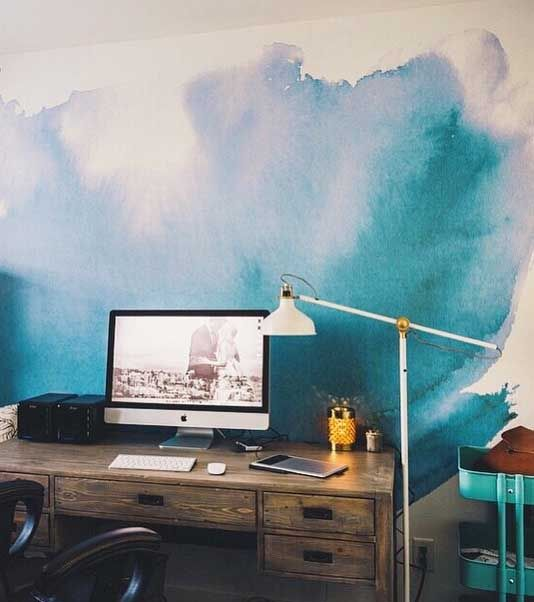 Blues create a cool and refreshing interior. To get this watercolor look, use Colorhouse WOOL .05. #blue #paint #interior #wall #watercolor