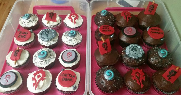 Wife made cupcakes for the Legion Launch weekend LAN #worldofwarcraft #blizzard #Hearthstone #wow #Warcraft #BlizzardCS #gaming
