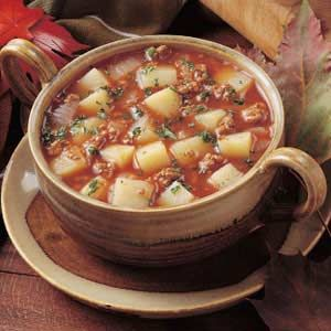 Spicy Potato Soup - one of my favorites - I always have the ingredients on hand - ground beef, potatoes, tomato sauce, onion and hot sauce!
