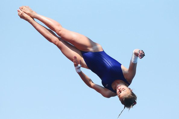 Laura Marino of France competes in the Women's 10m Platform Diving semi final on day five of the 15th FINA World Championships at Piscina Municipal de Montjuic on July 24, 2013 in Barcelona, Spain.