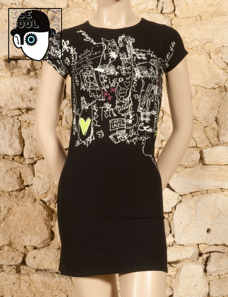 CHRISTIAN LACROIX - BAZAR  GRAFFITI BODYCON T-SHIRT DRESS - UK 6 or 8 - (Z)