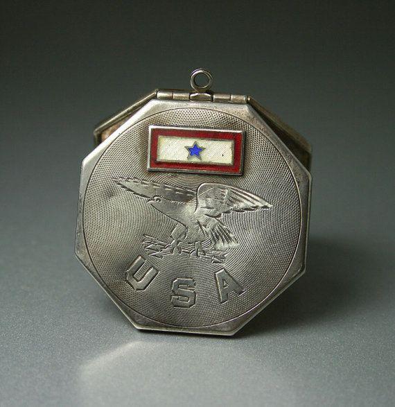 Antique WW1 Era FM Co Sterling Silver Military Sweetheart Locket by zephyrvintage, $150.00