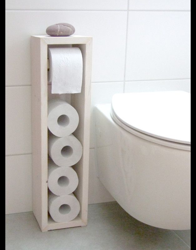 **Toilettenpapierhalter, Toilettenpapierständer, Klopapierhalter, H/B/T 65/16/14cm, im angesagten shabby chic. Handgearbeitet aus recycelten Vollholzdielen, traditionell geweisselt. N E U: Die...