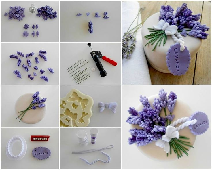 Flores de lavanda en fondant. Fondant Lavender flowers.