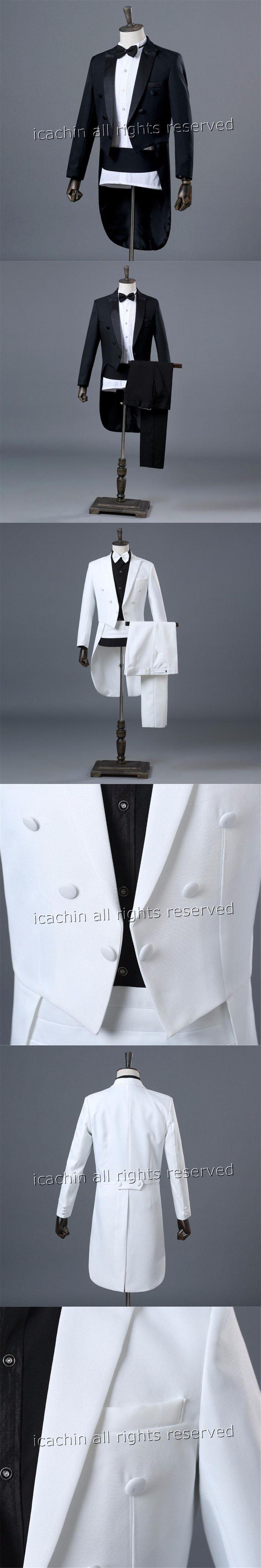 Basic Style Mens Tuxedo Black Tailcoat Mens Terno Masculino White Suit Men Costume Homme Christmas Suits